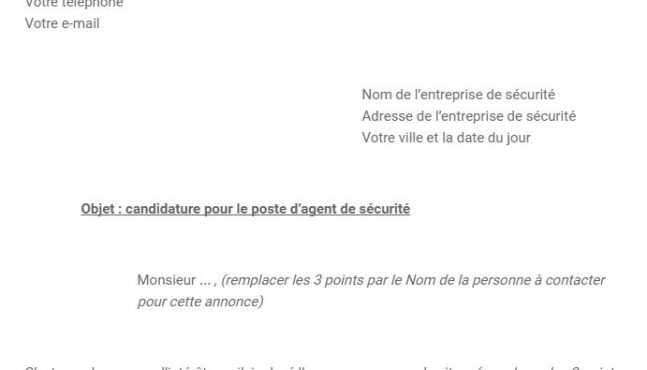 Exemple de lettre de motivation agent de sécurité