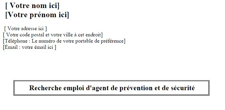 modele lettre de motivation pour formation agent de securite